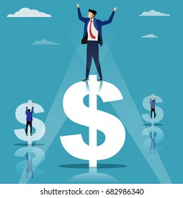 Successful businessman standing on dollar sign, money, leadership and winner concept, cartoon flat-style vector illustration.