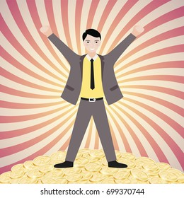 Successful businessman standing on a pile of gold. Vector illustration
