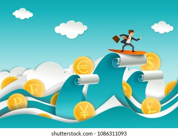 Successful businessman surfing reserve currency wave. Vector illustration in paper art style. Modern origami design template.