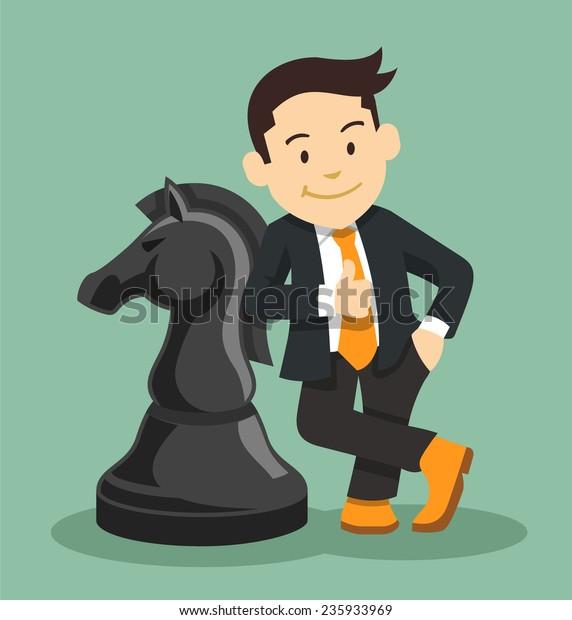 Successful businessman. Vector flat illustration