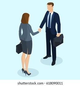Successful businessmen and business woman handshaking after negotiation. Isometric 3d flat design vector people different characters, styles and professions.
