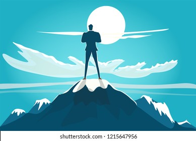 Successful businessmen on top of the mountain looking at sunset. achievement, professionalism and success concept illustration