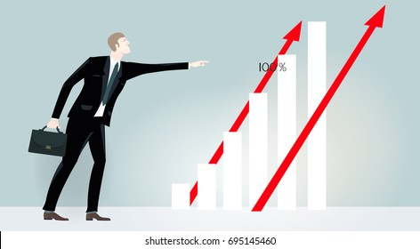 Successful businessmen at the presentation against of growth charts, diagrams and information screen. Business concept illustration.