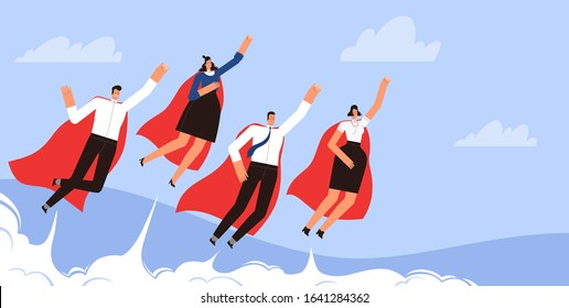 Successful businessmen superheroes fly in the sky in red cloaks. Concept of an energetic team of businessmen.