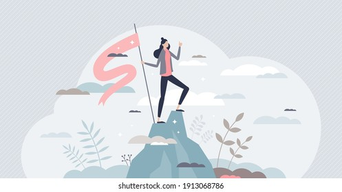 Successful businesswoman as confident female work leader tiny person concept. Career professional achievement top and future ambition vector illustration. Corporate progress peak for boss woman.