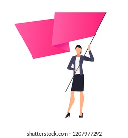 Successful businesswoman with flag in hands, woman in office clothes and heels, concept of leadership, vector illustration in flat style on white background