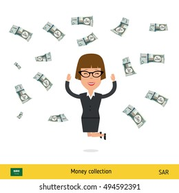 Successful businesswoman happy to earn a lot of money. Saudi Arabian Riyal banknote vector illustration.