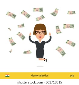 Successful businesswoman happy to earn a lot of money. Indian rupee banknote vector illustration.