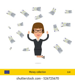 Successful businesswoman happy to earn a lot of money. Euro banknote vector illustration.