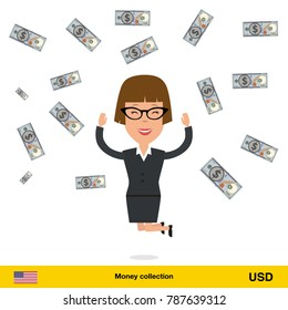 Successful businesswoman happy to earn a lot of money. Dollar banknote vector illustration.