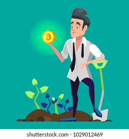 Successful Cartoon Bitcoin Miner Holding Golden Coin. Crypto Currency Market Concept. Vector illustration