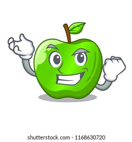 Successful character ripe green apple with leaf