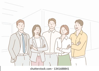 Successful company with happy workers. Hand drawn style vector design illustrations.