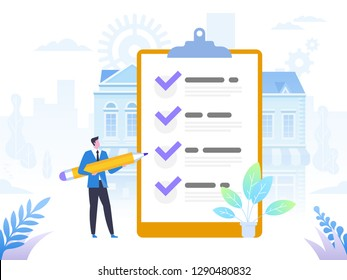 Successful completion of business tasks. Positive business man with a giant pencil on his shoulder nearby marked checklist on a clipboard paper. Flat vector illustration.