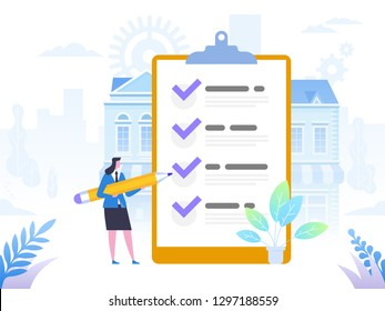 Successful completion of business tasks. Positive business woman with a giant pencil on his shoulder nearby marked checklist on a clipboard paper. Flat vector illustration.
