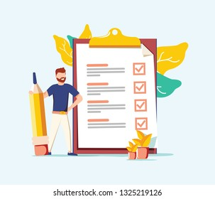 Successful completion of business tasks. Positive business man with a giant pencil nearby marked checklist on a clipboard paper. Flat vector illustration. Business success, time management.