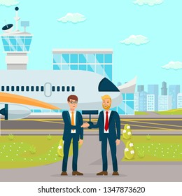 Successful Cooperation Negotiation Illustration. Business Relationship Establishment. Men in Suits Discussing Potential Partnership. Corporate Meeting, Conversation at Airport Flat Color Drawing