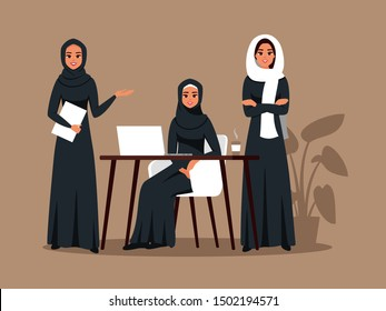 Successful creative business team of arab women is working together on a joint project. Saudi business female wears hijab working at office. Vector illustration