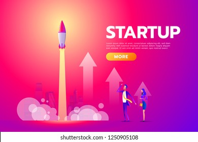 Successful deal, contract, agreement. Man and woman looking, startup, rocket launch. Poster for banner, social media, presentation, web page. Flat design vector illustration