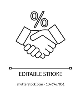 Successful deal linear icon. Business partnership. Thin line illustration. Handshake and percent sign. Contour symbol. Vector isolated outline drawing. Editable stroke