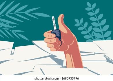 Erfolgreiches Geschäft mit einem Fahrzeug. Eine Hand mit einem Autoschlüssel in der Handfläche, die durch einen Stapel von Dokumenten bricht, zeigt einen Daumen nach oben, der einen erfolgreichen Papierkram anzeigt.