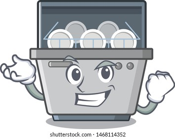 Successful dishwasher machine isolated in the cartoon