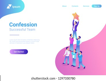 Successful dream team flat 3d isometric business concept web vector illustration. Teamwork businessmen pyramid to reach rating star.