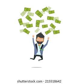 successful entrepreneur. money rain. successful businessman. Money from the sky. vector illustration.rain pours money to the businessman. rain showers of the Money happy man.