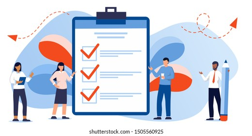 Successful execution of tasks from the to check list. Man with pen and clipboard. To do list concept. Completion tasks. Vector illustration flat design. Ethnic people group full length team