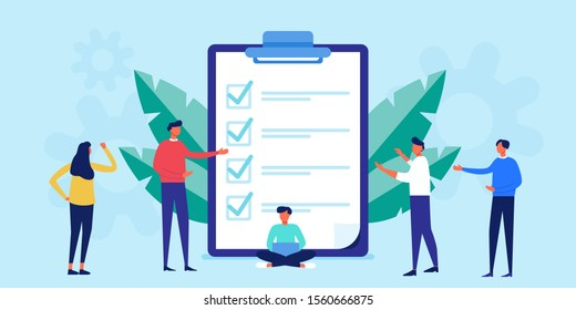 Successful execution of tasks from the to check list. clipboard with document. To do list concept. Completion tasks. Vector illustration flat design. people group full length team work
