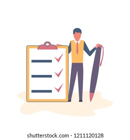 Successful execution of tasks from the to do list. Positive businessman with pen and clipboard. Completion tasks. Vector illustration flat design. Isolated on white background. Getting things done.