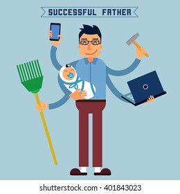 Successful Father. Multitasking Man. Perfect Husband. Father with Baby and Laptop. Vector illustration