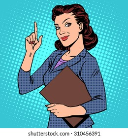 A successful female businesswoman retro style pop art