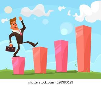 Successful happy businessman character. Vector flat cartoon illustration