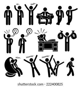 Successful Happy Businessman Poses Stick Figure Pictogram Icons