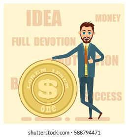 Successful and happy  businessman stand near the big gold coin