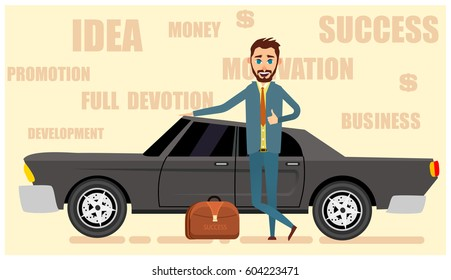 Successful and happy  businessman stand near the business car. Flat vector illustration
