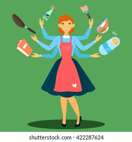 Successful Housewife. Multitasking Woman. Perfect Wife. Young Mother. Mother with Baby. Modern Woman. Housewife in Apron. Woman Prepares Food. Vector illustration