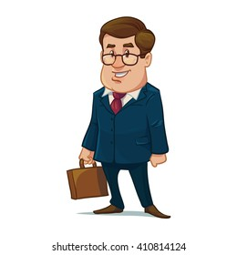 successful man in glasses, suit, with briefcase, happy, cartoon character, businessman, lawer, vector illustration