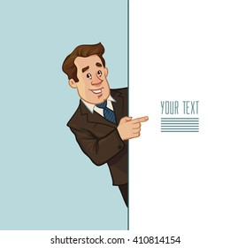 successful man, happy, cartoon character, pointing to something, businessman, lawer, for your design, vector illustration