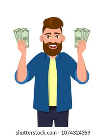 Successful man,  Man with money in hands, Successful earnings, Cash holding in hands, Business victory, Man with dollar, Finance people, Wealthy man, Salaried person, Cartoon character, Illustration