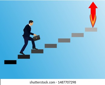 Successful man office worker character running upstairs to career stairs. Business strategy leader success business development start up concept. Vector flat cartoon graphic design illustration