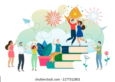 Successful man and woman celebrating success. Win a prize and accept congratulations, thanks to good education and knowledge. Vector