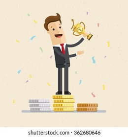 Successful manager or businessman. A man in a suit stand on a pedestal and hold a prize.  Vector EPS10.