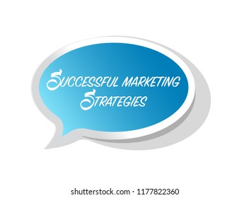 Successful marketing strategies bright message bubble isolated over a white background