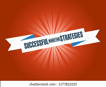 Successful marketing strategies bright ribbon message isolated over a red background