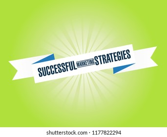 Successful marketing strategies bright ribbon message isolated over a green background