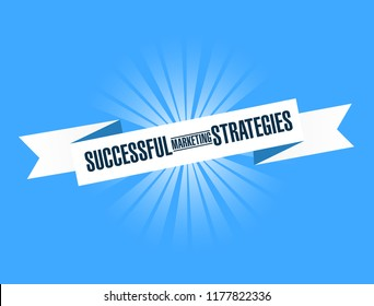 Successful marketing strategies bright ribbon message isolated over a blue background