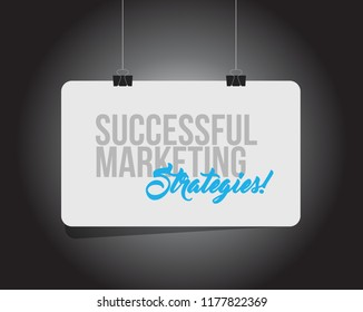 Successful marketing strategies hanging banner message isolated over a black background