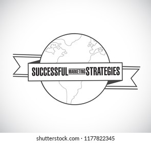 Successful marketing strategies line globe ribbon message concept isolated over a white background